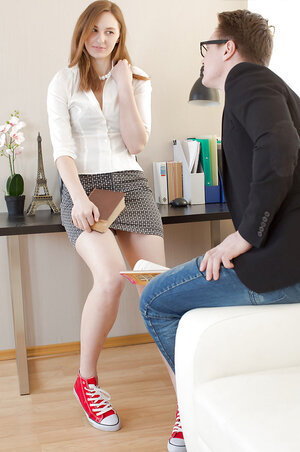 Redhead in flippant outfit Irina Pavlova digged in horny butthole by boss