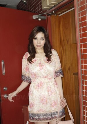 Comely Japanese broad flashes panties while anticipating friend near door