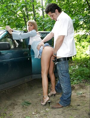 Dudes stopped the car in a woods two fucks just picked up slut outdoors