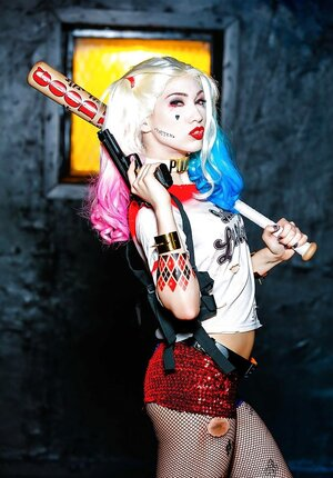 Harley Quinn individual cosplay scene by sexy 18-19 year old adult video star Aria Alexander