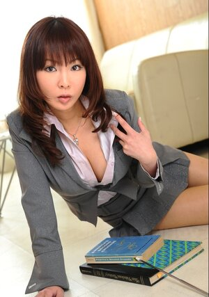 Cutest Japanese bookworm with awesome boobs teases with piping-hot decollete