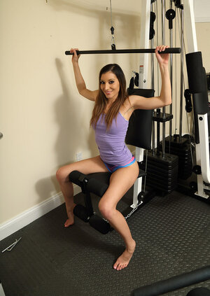 Fitness kitten working out and plus inserting a bottle in her undersized vagina