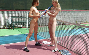 Insane girlfriends fucking with long strapon after playing tennis